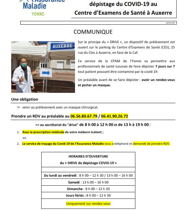 """Dépistage """"Drive"""" au centre d'examens de santé d'Auxerre"""