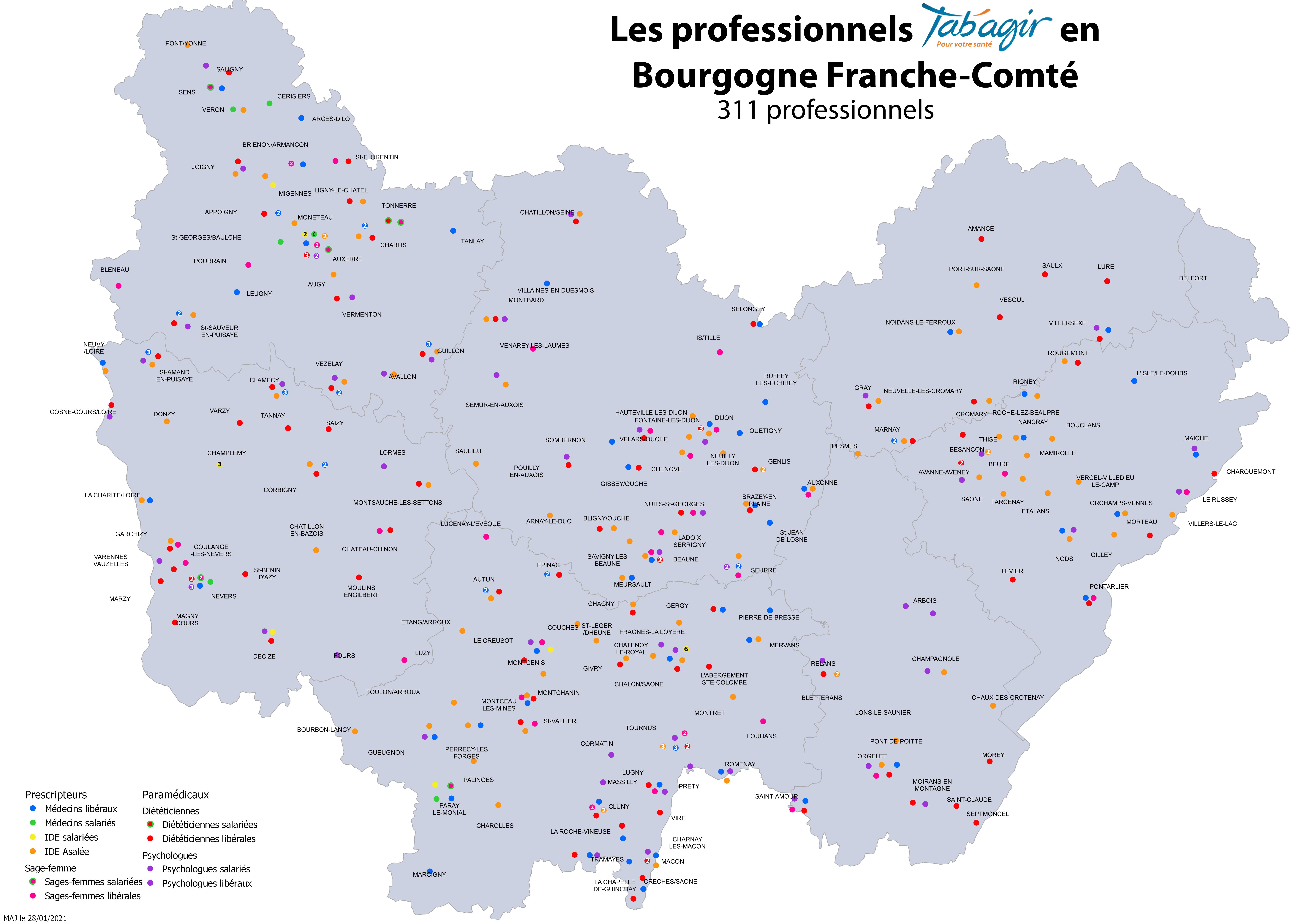 Cartographie Bourgogne Franche-Comté